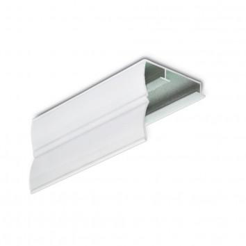 Карниз алюминиевый ПАС-1859 43х45 мм, PW белый, 1 м