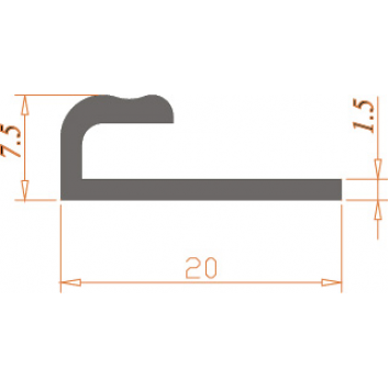 Специальный профиль ПАС-0887 20х7,5х1,5 / AS серебро