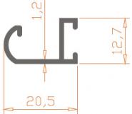 Специальный профиль ПАС-1000 20,5х12,7х1,2 / AS серебро